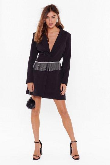 Black Look This Sway Diamante Fringe Blazer Dress