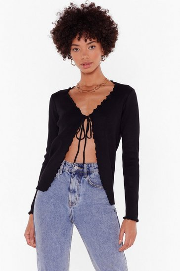 Black Frill Into You Ribbed Tie Cardigan