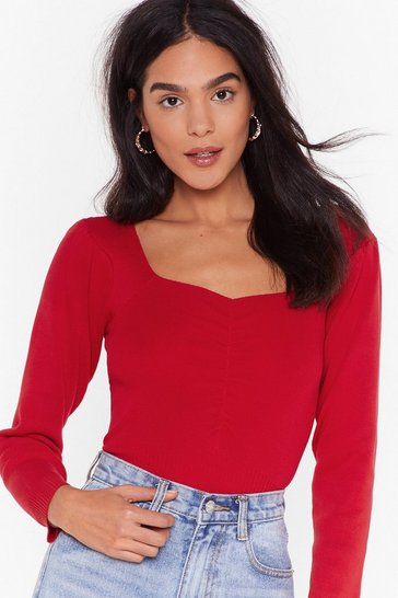 Womens Red Short but Sweetheart Neckline Knitted Top