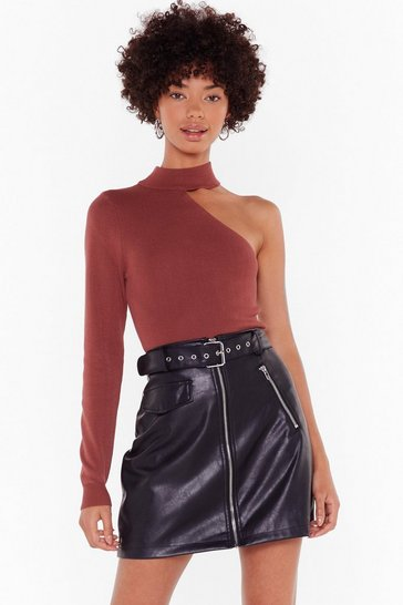 Womens Mocha All for One Shoulder Ribbed Knit Top