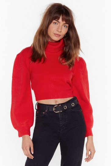 Red Rollin' With It Turtleneck Puff Sleeve Sweater