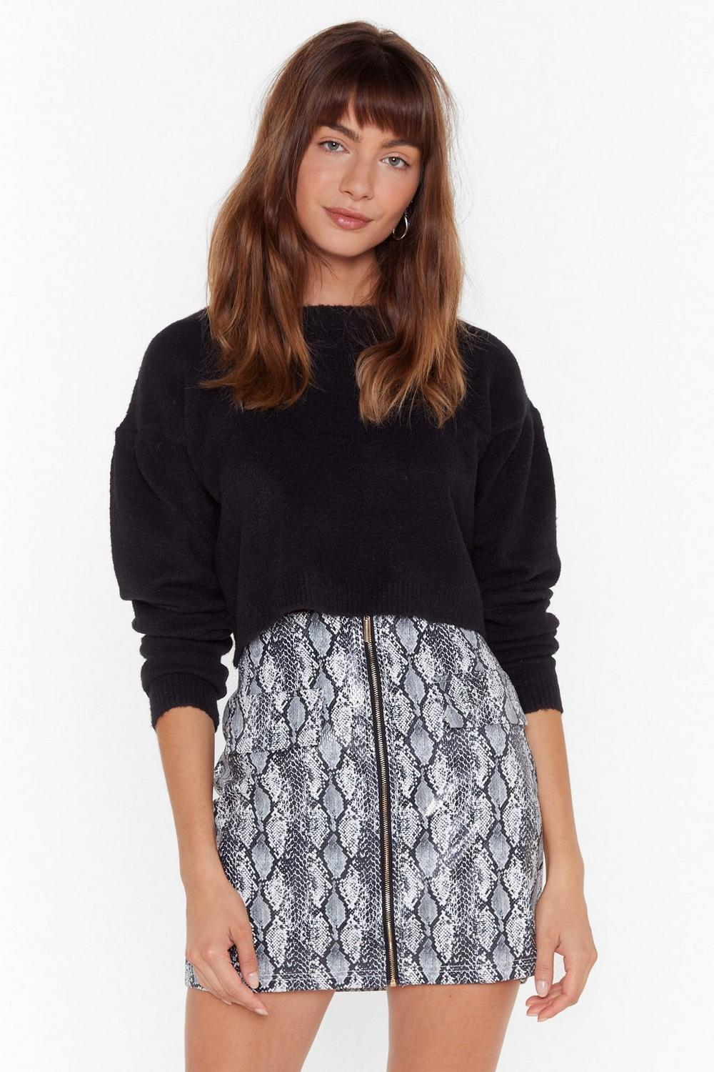 Work For Knit Crew Neck Cropped Jumper by Nasty Gal