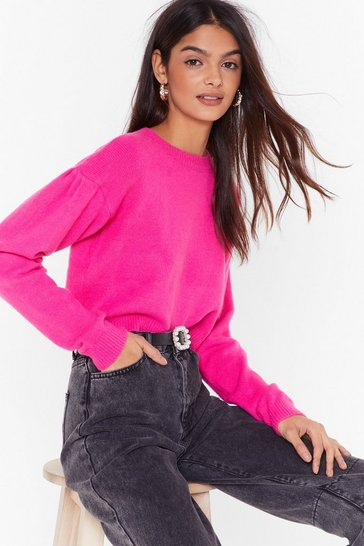 Hot pink Work for Knit Crew Neck Cropped Sweater