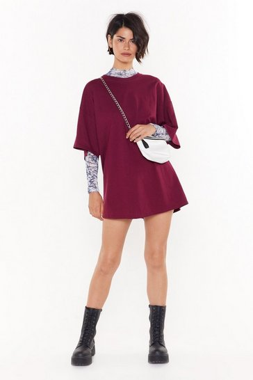 Womens Maroon Easy Does It Tee Dress