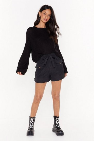 Black We've Got Our Tie on You High-Waised Shorts