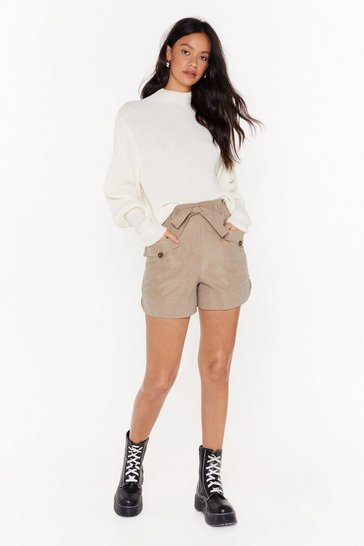 Womens Khaki We've Got Our Tie on You High-Waised Shorts