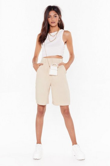 Womens Natural Longline No See High-Waisted Tailored Shorts