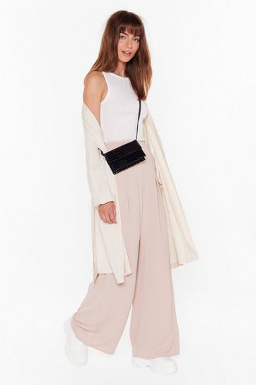Womens Nude Wide Awake High-Waisted Wide Leg Pants