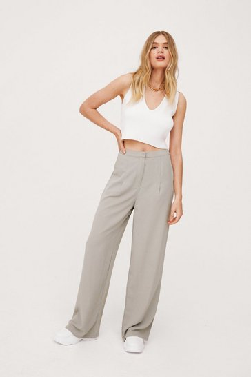 Sage Pleated High Waisted Wide Leg Pants