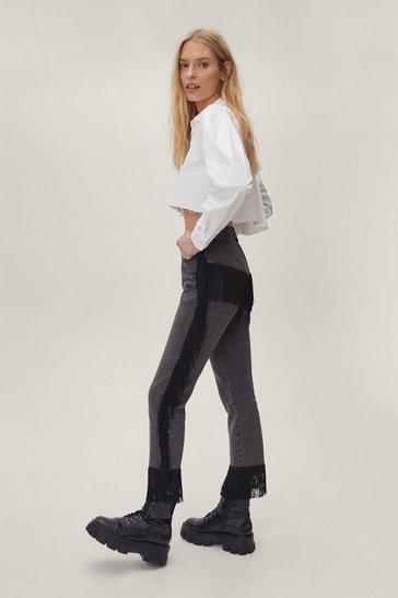 Fringe High-Waisted Jeans in Black Wash Denim
