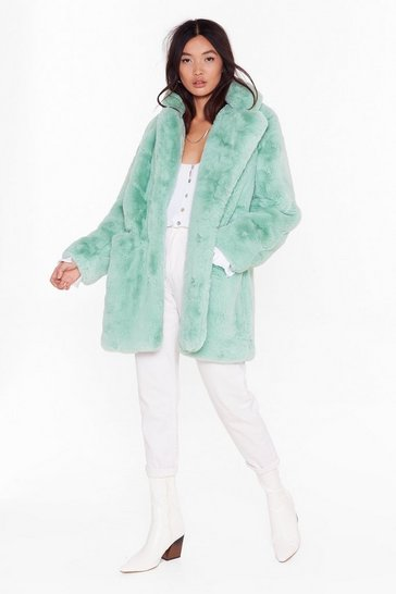Womens Sage Surfin' Bird Faux Fur Coat