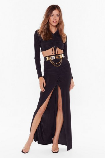 Womens Black No Real Ruche Slinky Crop Top and Maxi Skirt Set