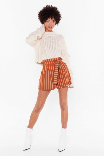 Womens Orange Get It Stripe High-Waisted Paperbag Shorts