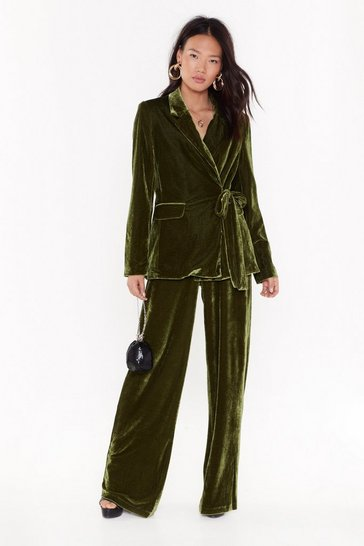 Womens Green Power Dressing Velvet Wide-Leg Pants