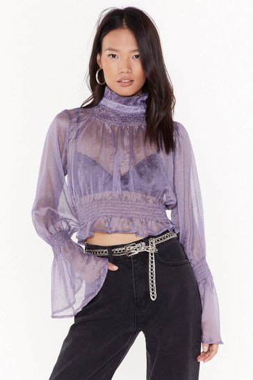 Womens Lilac Sheer's to Us Polka Dot Cropped Blouse