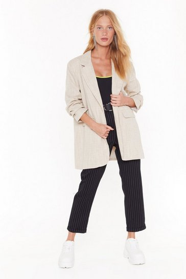 Womens Beige Blaze of Glory Oversized Blazer