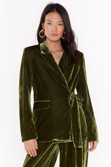 Womens Green Power Dressing Belted Velvet Blazer