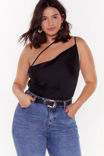 Womens Black Get Even Plus Satin Top