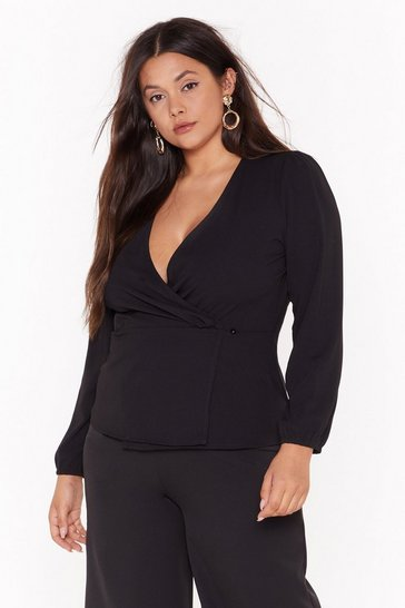 Black Plus Wrap Longsleeve Blouse