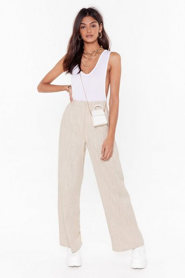 Womens Beige Wide Eyed High-Waisted Pants