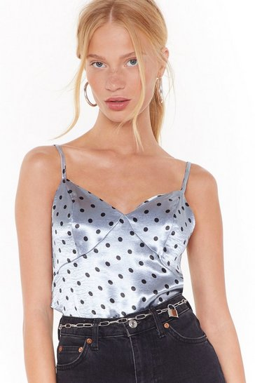 Womens Blue Still Spot Time Satin Cami Top