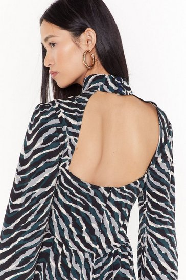 Womens Black zebra long sleeve dress