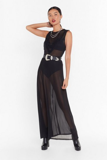 Black Always Sheer Mesh Maxi Dress