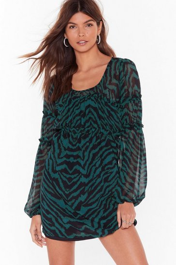 Black You Were Wild Once Zebra Mini Dress