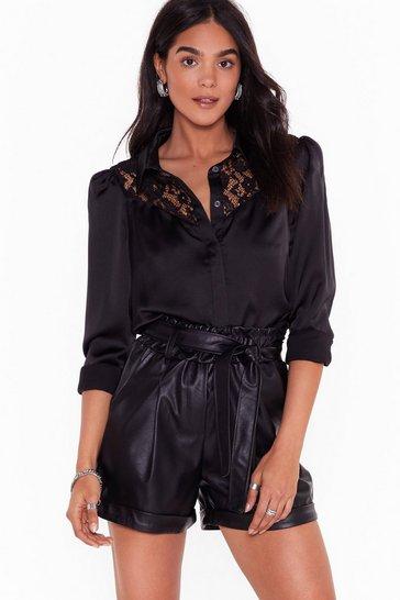 Black Lace Make It Happen Satin Blouse