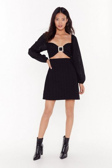 Womens Black pearl buckle broiderie dress