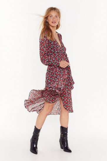 Womens Black Drop Your Gard-en Floral Midi Dress