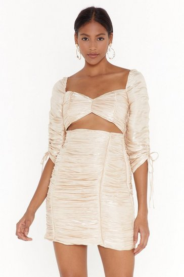 Womens Gold Shimmer Takes It All Ruched Mini Dress