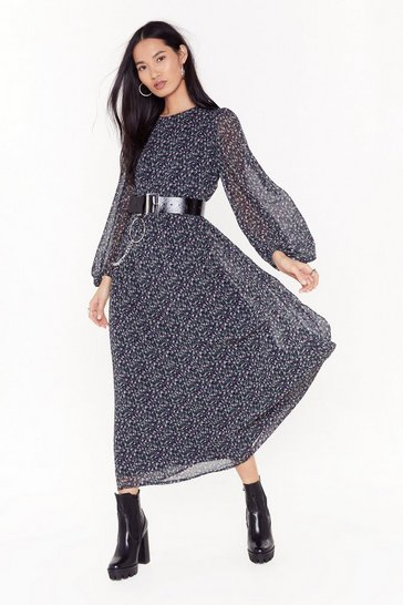 Womens Navy MS Balloon sleeve floral maxi dress