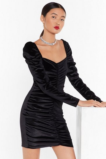 Womens Black Lust Ruche Velvet Mini Dress