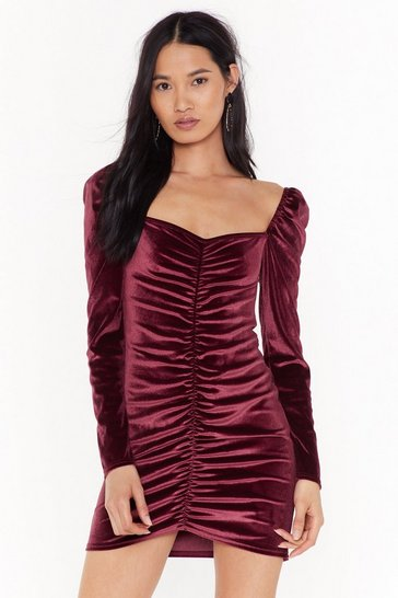 Rose Lust Ruche Velvet Mini Dress
