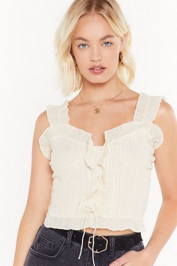 Womens Cream Put You Through Your Laces Ruffle Crop Top