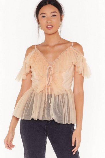 Womens Blush Frill I'm Gone Mesh Lace-Up Top