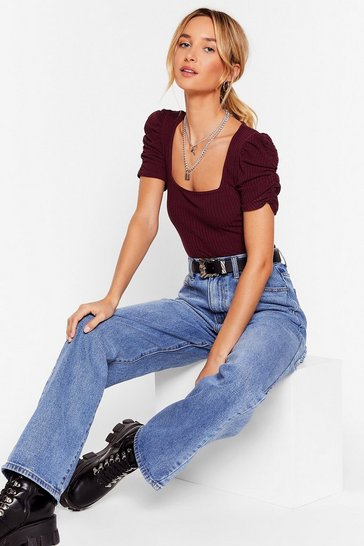 Womens Burgundy Square I Wanna Be Ribbed Ruched Sleeve Top