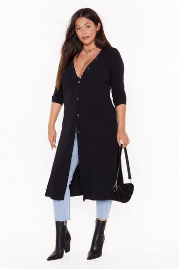 Womens Black Love You Longline Plus Knit Cardigan