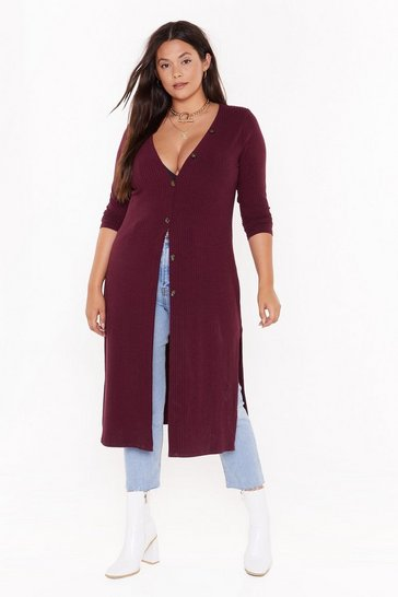 Womens Burgundy Love You Longline Plus Knit Cardigan