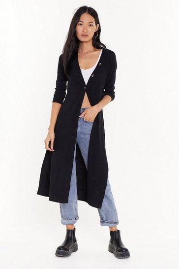 Womens Black Love You Longline Ribbed Knit Cardigan