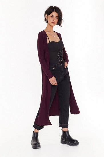 Womens Burgundy Love You Longline Ribbed Knit Cardigan