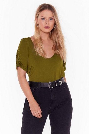 Womens Olive Now You V Me Plus Puff Sleeve Tee