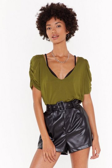 Womens Olive Now You V Me Puff Sleeve Tee