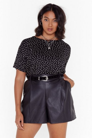 Womens Black PLUS spot hanky hem tee