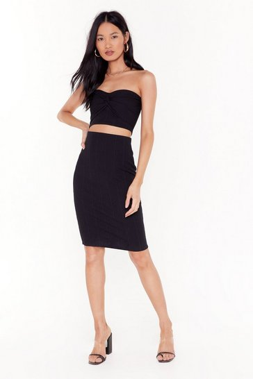 Black Queen of the Night Bandeau Top and Midi Skirt Set