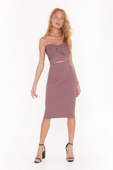 Womens Rose Queen of the Night Bandeau Top and Midi Skirt Set