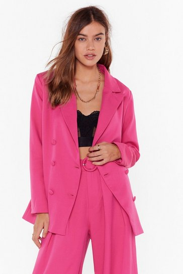 Womens Hot pink We're in Business Oversized Blazer