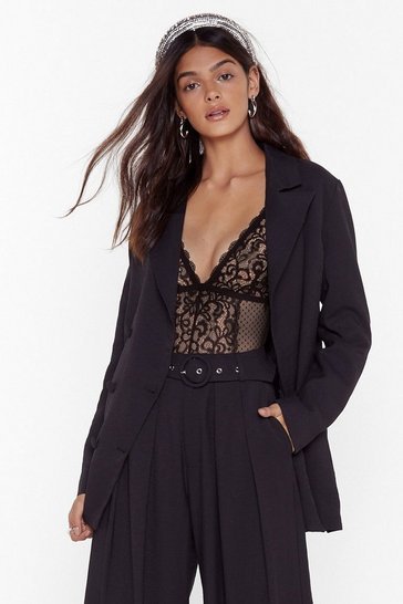 Womens Black We're in Business Oversized Blazer