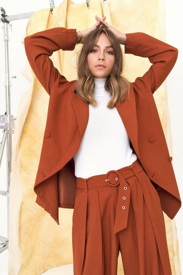 Womens Rust We're in Business Oversized Blazer